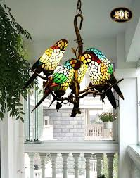 tiffany style light fixtures vintage style stained glass retro five parrot pendant lamp chandelier tiffany style