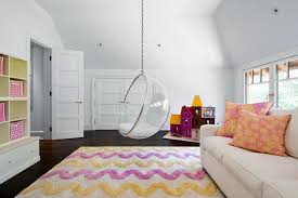 playroom with acrylic hanging bubble chair