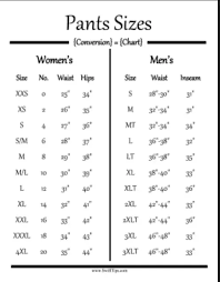 Is There A Size Chart For Mens Clothing To Womens Clothing