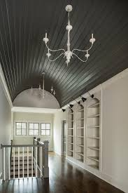 black barrel hallway ceiling with shiplap trim
