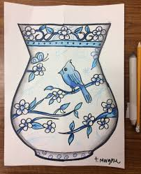 How To Draw A Vase With Designs The Lost Sock Chinese Flower Vase