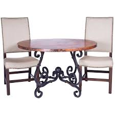 Zinc Dining Table French French Iron Dining Table With 60 In Round Hammered Copper Top