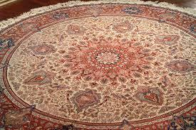 persian kashan 7 7 round handmade wool silk area rug ivory rust