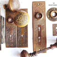 Antique Brass Arts Crafts Door Hardware Sets With Knobs Plates