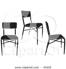 chair clipart black and white. clipart illustration of three black and white simple chairs by frisko chair b