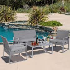 Amazon 4 PC Outdoor Patio Furniture Set Cushioned Wicker