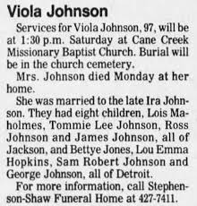 Obituary for Viola Johnson (Aged 97) - Newspapers.com