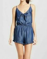 Nwt Mossimo Supply Co Womens Tie Front Denim Romper