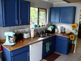 image of navy blue kitchen cabinets