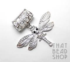 silver plated dragonfly with rhinestones scarf pendant