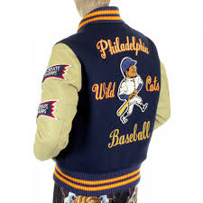 whitesville letterman regular fit royal blue wool cream leather sleeve philadelphia wild cats stadium jacket
