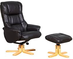 chicago luxury leather recliner with footstool