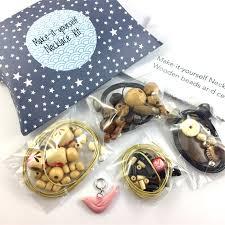 make it yourself 3 necklaces gift kit wooden beads pink ceramic bird pendant kaori madeit com au