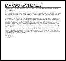 Elementary School Secretary Cover Letter Sample Brilliant Ideas Of