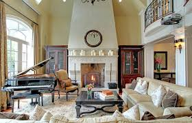 rumford fireplace with white mantel kit and sofa set and grand piano plus carpet for heat