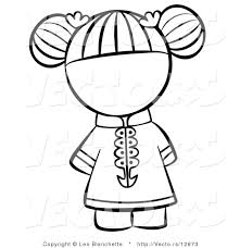 Small Picture Vector of Chinese Girl with Hair Tied up Coloring Page Outlined