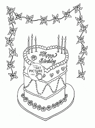 Beautiful Birthday Cake Coloring Page For