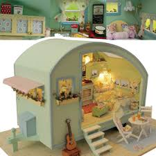 DIY Wooden Dollhouse Furniture Kits LED Light Miniature Christmas