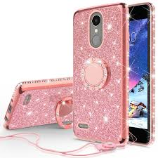 lg k20 plus, v, harmony, k10 2017 glitter bling fashion case - LG K20 Plus Case, V, K10 2017, Harmony Glitter Cute Phone Case Girls with Kickstand,Bling Diamond Rhinestone Bumper Ring Stand Sparkly