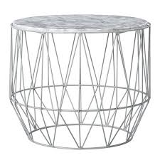 round wire side table kmart lidl marble base coffee grey white frame