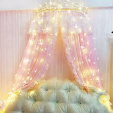 double pink white sheer bed canopy ruffle curtains