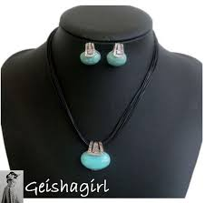 details about tibetan silver turquoise oval stud earrings necklace jewellery set uk er