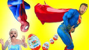Superman Spiderman vs Surprise Eggs Poo Frozen Elsa Kidnapped.