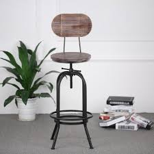 Us 5889 35 Offindustrial Style Bar Stool Morden Height Adjustable Swivel Kitchen Dining Chair Pinewood Top Metal With Backrest Bar Stools In Bar