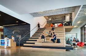 cool office spaces. Cool Office Perks: Gensler Denver Features Stadium Seating In The Lobby With A Café Area And Coffee Bar, Encouraging Interaction Providing Casual Work Spaces