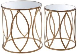 arcana gold metal and glass round side tables set of 2 cfs uk