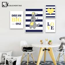 children poster navy blue yellow