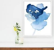 large abstract canvas art print in watercolor painting style large blue flower art navy on large blue flower wall art with large abstract canvas art print in watercolor painting style large