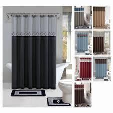 Modern shower curtains Geometric Image Is Loading Contemporarybathshowercurtain15pcsmodernbathroom Pillows In Dryer To Kill Dust Mites Contemporary Bath Shower Curtain 15 Pcs Modern Bathroom Rug Mat