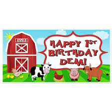 custom happy birthday banner farm animals birthday banner personalized party backdrop paper