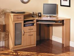 wood home office corner desk with keyboard tray and small cabinet with drawer and storage with lock ideas