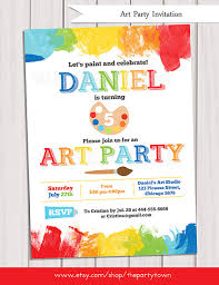 art party invitation printable rainbow paint party by thepartytown