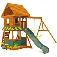 a picture of the big backyard magnolia wooden swing set