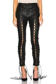 image 1 of unravel lace up leather pants in black