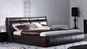 Soho Bedroom Furniture Soho Leather Contemporary Platform Bed Brown Zuri Furniture
