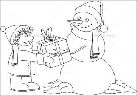 Christmas Snowman Gives Present Coloring Page EPS Download 31 christmas colouring pages free jpeg, png, eps format on free xmas menu templates