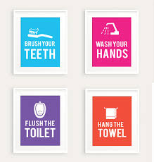 bathroom rules for kids. Delighful Rules Kids Bathroom Rules Art Print Set 0113 Printable Pdf Decor Flush  Wash In For E