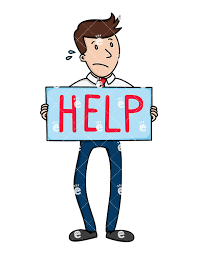 A Sweating Businessman Holding Up A Large Help Sign Friendlystock Com