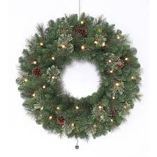 artificial wreaths at outdoor lighted large holiday living 30 in pre lit indooroutdoor battery