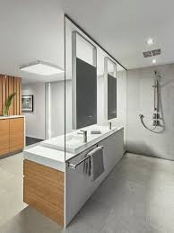 Inspiration for a contemporary gray tile alcove shower remodel in Toronto  with a vessel sink,