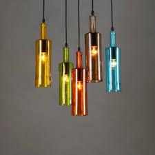 modern colored glass bottle pendant light single head colored glass light fixtures