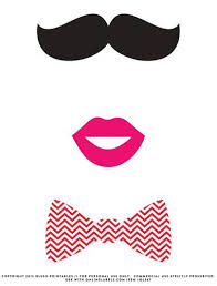 Mustache Bow Tie Kissy Lips Photo Booth Printable Props