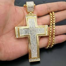 original 80 40mm hiphop rock full rhinestone big cross pendants necklaces gold 316l stainless