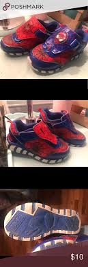 Tennis Shoes That Light Up At The Bottom Boys Sz12 Spider Man Marvel Tennis Shoes Light Up Excellent