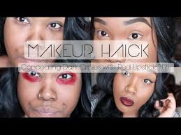how to conceal under eye bags and dark circles with red lipstick