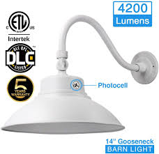 Barn Light Electric Coupon 2017 14in White Led Gooseneck Barn Light 42w 4000lm Warmlight Led Fixture For Indoor Outdoor Use Photocell Included Swivel Head Energy Star Rated